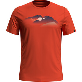 Odlo Nikko Print T-Shirt S/S Crew Neck Men mandarin red/mountain